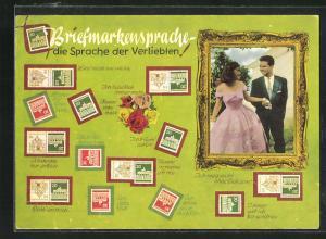 AK Briefmarkensprache, Denk` an mich, Ich denke nur an Dich, Lass` mich nie alleine, Liebespärchen im Bilderrahmen