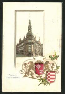 Passepartout-Lithographie Bremen, Blick auf die Baumwollbörse, Wappen