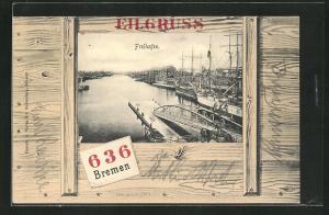 AK Bremen, Eilgruss, Freihafen im Holzkisten-Passepartout