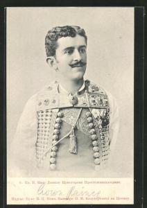 AK Kronprinz Danilo von Montenegro in Trachtenhemd