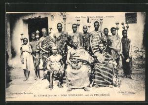 AK Côte d`Ivoire, Bou Kouassi, roi de l`Indénié, König mit Hofstaat