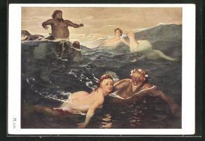 Künstler-AK Arnold Böcklin: Im Spiel der Wellen, Fabelwesen, Meerjungfrau, Necker, Zentaur