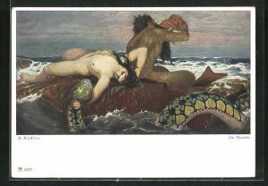 Künstler-AK Arnold Böcklin: Die Nereide, Fabelwesen, Seeschlange