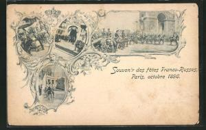 AK Paris, fetes Franco-Russes 1896, Nikolaus II. mit Gefolge in der Stadt