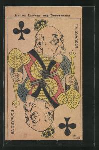 Künstler-AK Spielkarte mit Edouard VII. von England