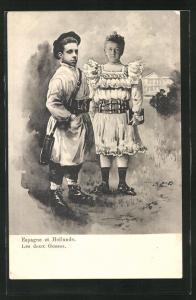 AK Wilhelmina von den Niederlanden und Alfonso XIII. von Spanien als niedliche Kinder