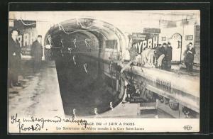AK Paris, L`Orage du 15 Juin, les Souterrains du Metro inondes a la Gare Saint-Nazaire