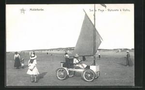 AK Middelkerke, Sur la Plage, Voiturette a Voiles, Strandwagen