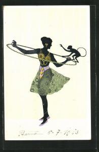 Künstler-AK Tänzerin mit Reifen und Affe