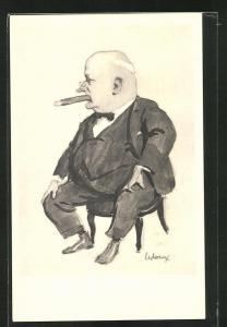 Künstler-AK Ledoux: Walter Boodle, Karikatur des Landschaftsmalers