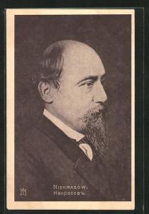 AK Nikolai Nekrassow, Profilportrait des Dichters