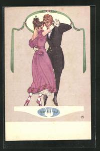 Künstler-AK Tanzendes Paar, Biedermeier