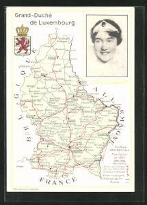 AK Grand-Duché de Luxembourg, Grossherzogin Charlotte und Landkarte