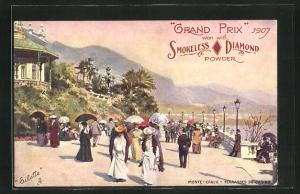AK Monte-Carlo, Terrasses du Casino Grand Prix 1907 won with Smokeless Diamond Powder, Reklame für Munition