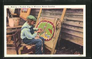 AK Making a Hooked Rug in Western North Carolina, Teppichweber, USA, Appalachen, Hillbilly