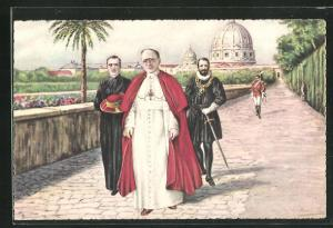 AK Vatican, Sua Sanita nei Giardini, Papst Pius XI. im Garten