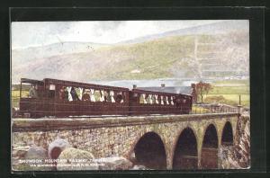 AK Llanberis, Snowdon Mountain Railway Train via Llanberis Station, L. & N. W. Railway, Bergbahn