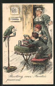 AK Shooting over Auntie`s preserves, Dienstmädchen und Jungen in der Stube mit einem Papagei