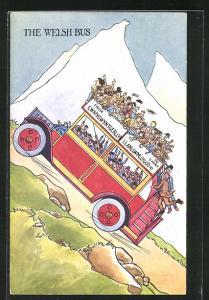 AK Autobus fährt mit vielen Gästen bergauf, The Welsh Bus