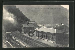 AK Modane, Entrée du Tunnel du Mont Cenis, La Gare, Bahnhof
