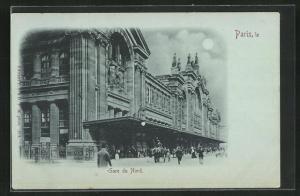 Mondschein-AK Paris, Gare du Nord, Bahnhof