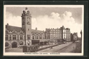AK Nottingham, Victoria Station and Hotel, Bahnhof