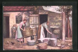 AK Waschfrau macht die Wäsche am Zuber vor dem Haus