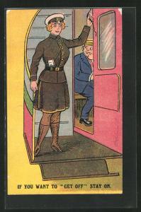 AK Frau im Dienst der Eisenbahn im Eisenbahnwaggon