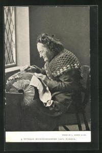 AK Veteran Buckinghamshire Lace Worker, Englische Greisin beim Klöppeln
