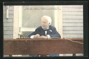 AK Fort Myers, Florida, The late Thomas A. Edison at telegraph key on his 83rd birthday