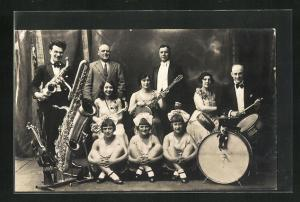 Foto-AK Musiker mit Saxophon und Schlagzeug