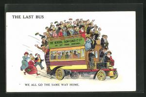AK The last bus, We all go the same way home, Bus voller Menschen