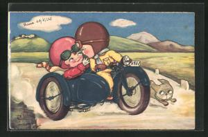AK Pärchen auf einem Motorrad
