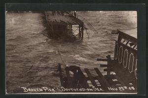 AK Sothend-on-Sea, Broken Pier 1908, Katastrophe