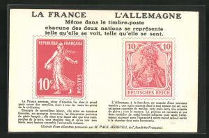 AK La France & L`Allemagne, Meme dans le timbre-poste chacune des deux nations se represente telle qu`elle se voit