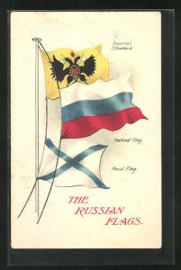 AK The Russian Flags, Imperial Standard, National Flag, Naval Flag