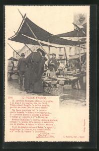 AK Leute beim Einkauf an den Ständen auf dem Markt