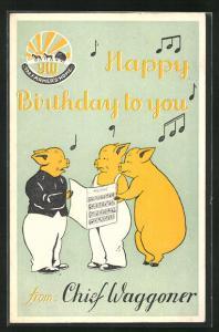 AK Schweine geben eine Geburtstagsständchen