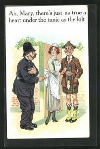 AK Polizist mit Dienstmagd und Schotten im Kilt