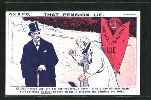 AK Männer auf der Strasse im Gespräch, That Pension lie