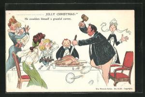AK Hausherr tranchiert am Tisch den Festtagsbraten, Dienstmädchen schaut erschrocken zu