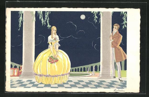 AK Verliebtes Paar steht im Mondschein auf der Terrasse, Art Deco