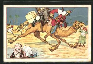 Künstler-AK Alphonse Daudet, Il Tartarin de Tarascon, Kamel