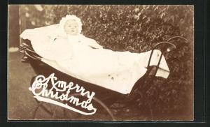 Foto-AK Baby im Kinderwagen