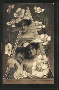 AK Miss Sybil und Miss Grace Arundale, Schauspielerinnen mit Buchstabe A, Montage
