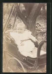 Foto-AK Säugling in Kinderwagen im Freien