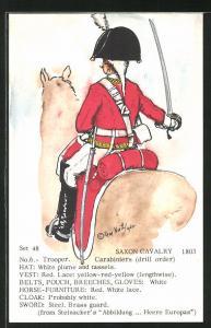 Künstler-AK Rene North: Saxon Cavalry 1803, Trooper, Carabiniers, Uniform, handkoloriert