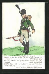 Künstler-AK Rene North: Prussian Infantry 1815, Rifleman, Silesian Jaegers, Uniform, handkoloriert