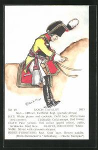 Künstler-AK Rene North: Saxon Cavalry 1803, Officer, Kurfürst Regt., Uniform, handkoloriert