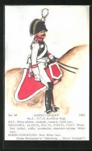 Künstler-AK Rene North: Saxon Cavalry 1803, N.C.O., Kurfürst Regt., Uniform, handkoloriert
